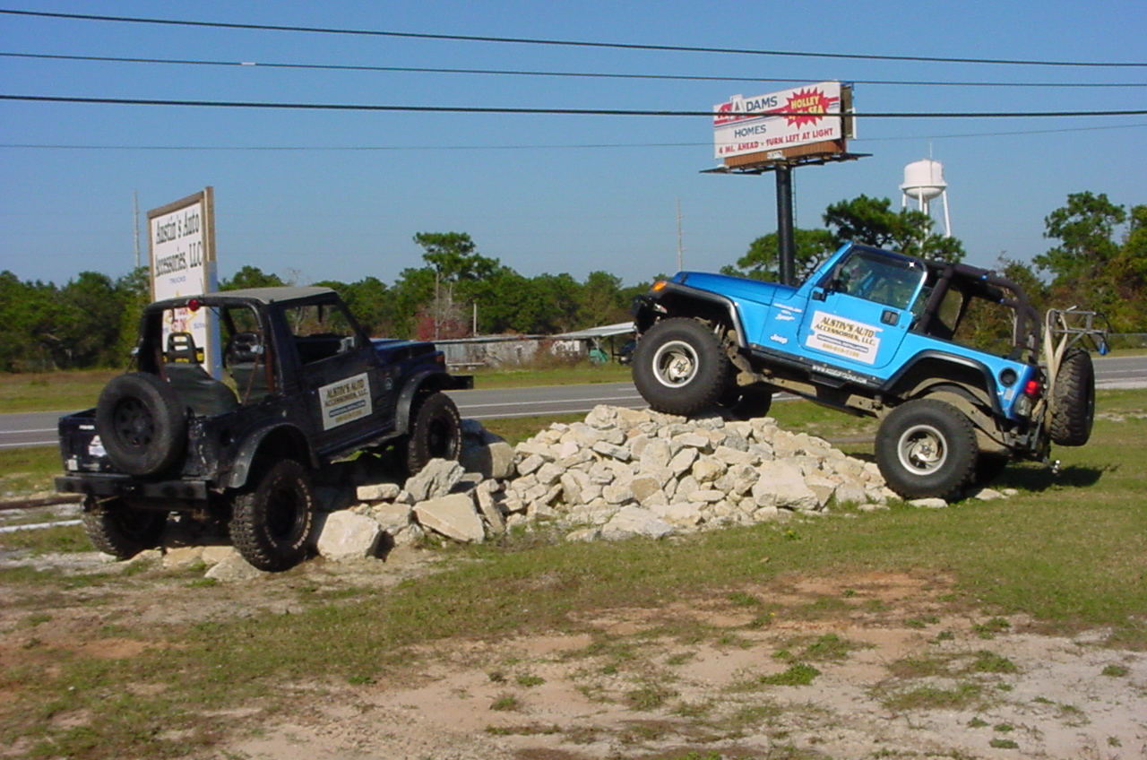 Look For The Jeeps On The Rockpile On HWY 98.